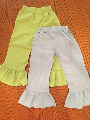 Toddler Girls 3T Ruffle Cord Pants, Baby Blanks  one green and one blue
