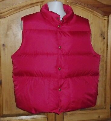L.L. BEAN Red Goose Down Puffer Hunting/Ski Vest Snap Front Size L