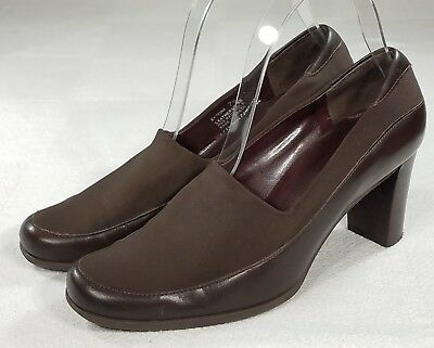 5b4ab5cdf09 Etienne Aigner Brown Pumps Womens Size 7.5 M Leather Block Heel Classic  Shoes