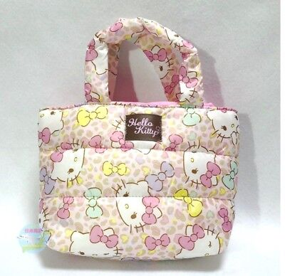 SANRIO KAWAII Hello Kitty Soft Handle Quilting Mini Tote Bag Leopard Pattern d20fa8973eb9a