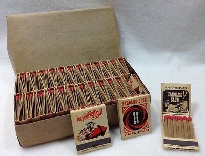 NOS 50 Vintage Harold's Club Reno Nevada Book Matches, Strike On Front, USA