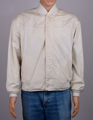 Vintage Montgomery Wards Mens Cream Bomber Jacket Coat Quilted Lining Size L