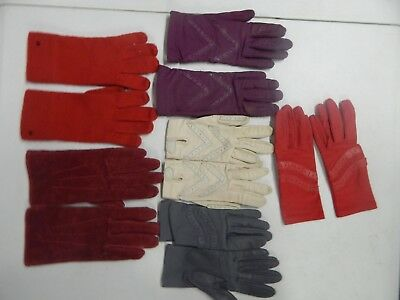 Lot 6 Vintage Pair Driving winter womens Gloves Isotoner red purple cream gray