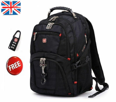 "15.6"" Laptop Backpack Notebook Rucksack Swiss Gear Outdoor Travel School Bag UK"