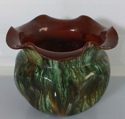 Late 19th.Century Linthorpe? green/brown vase designed by Christopher Dresser