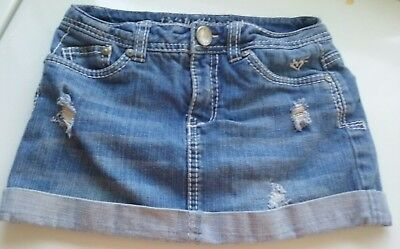 Justice Jeans Blue Denim Distressed Mini Skirt Girls Size 8R *built In Shorts*