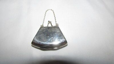 Miniature Sterling Silver 925 Purse w/Chain Handle for Doll,Pills++ / Opens