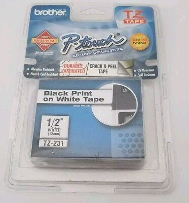 Brother P-Touch TZ-231 BLACK ON WHITE Label Tape TZe-231 / Ptouch TZ231 PT-1880