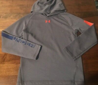 Under Armour Boy's UA Tech Hooded Shirt Hoodie Pullover Gray Youth Sz 7 Preowned