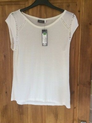 Ladies C & A Size Medium Cream Detailed Top. Brand New With Tags