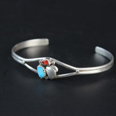 vintage Navajo blue turquoise red coral Cuff Bracelet sterling silver .925 basic