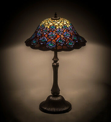 """Meyda 26"""" Tiffany Style Stained Glass Peacock Feather Table Lamp Light"""