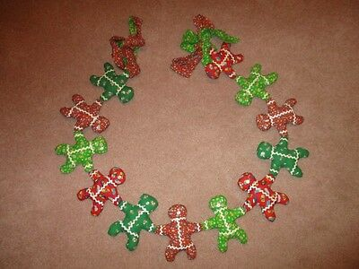 Vintage Handmade Hand Sewn Gingerbread Garland Fabric Material