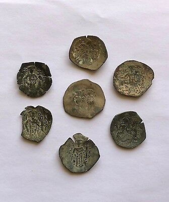 Lot Of 7 Late Byzantine Scyphate Coins. Nice Items, Some Of Them Billon