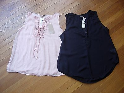 Nwt Lot Of 2 Womens Sleeveless Sheer Tops In  Rose & Black Size M & L Both Fit M