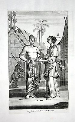 1730 Java Indonesia costume dress Kupferstich engraving Churchill