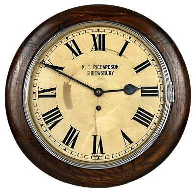 KT RICHARDSON, SHREWSBURY- EARLY C20th SCHOOL STATION GPO-STYLE LARGE WALL CLOCK