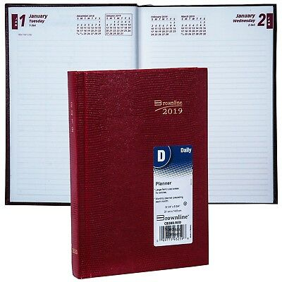 2019 Brownline CB389.RED Daily Planner Diary, Hard Cover, 8-1/4 x 5-3/4""