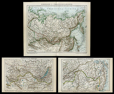 3 Lithographie-Tafeln 1895 Sibirien I-III Baikalsee Altai Amur Russland Old Map