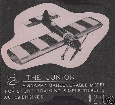 """Model Airplane Plans (UC): dmeco's ALL AMERICAN JUNIOR 26"""" 1/2A Stunt Trainer"""