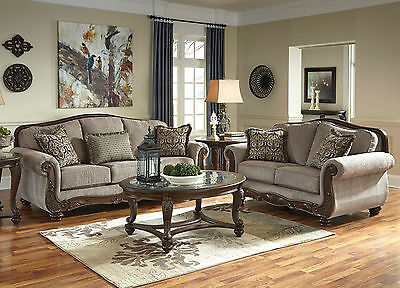 MORENZI TRADITIONAL LIVING Room Couch Set Furniture BROWN ...