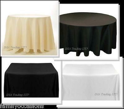 White Black Ivory Polyester Tablecloth Wedding Table Cloth Cover ROUND RECTANGLE
