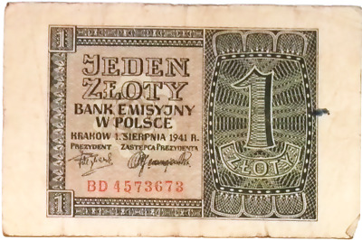 1940 Nazi Germany Occupation of Poland 1 Zloty banknote