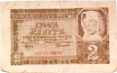 1940 Nazi Germany Occupation of Poland 2 Zloty banknote