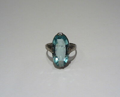 ANTIQUE Vintage BELAIS 10K WHITE GOLD Aquamarine RING 1920s Art Deco Size 5
