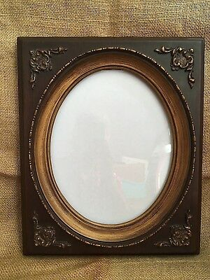 Vintage Victorian Style Oval Picture Frame Dark Brown And Antique Gold Painted