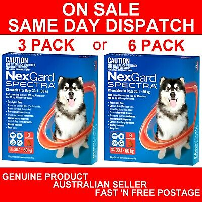 NexGard Spectra Chewables For Extra Large Dogs Red 30.1-60kg 3 Pack or 6 Pack
