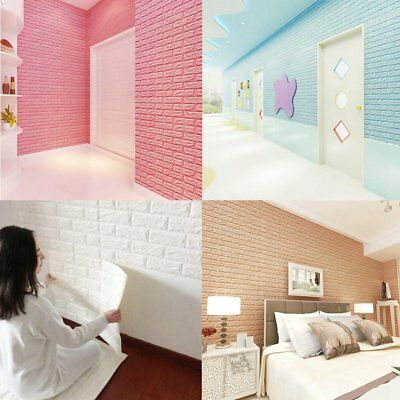 PE Foam DIY 3D Wall Stickers Decor Embossed Brick Stone Room Decor Backdrop US