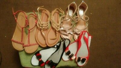 EUC!! STYLISH MUST HAVES!  LOT OF 6 Womens SZ 8 SANDALS Same day shipping!