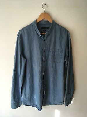 French Connection Mens Slim Fit Denim Business Casual Shirt XL