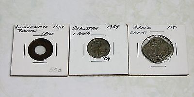 Pakistan Coins - Anna 1951; Anna 1954; Pice 1952 - Total 3 Circulated Coins