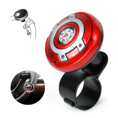 2in1 Vehicle Wheel Steering Spinner power handle ball Knob With Compass Red