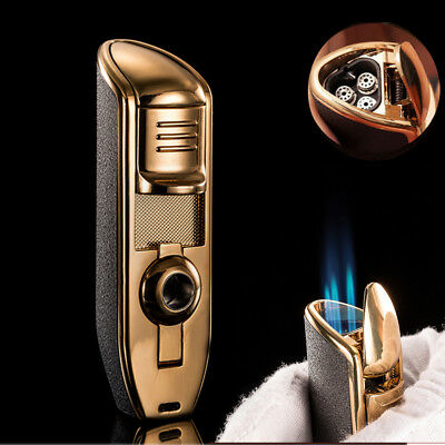 Luxury Metal 3 Torch Flames Cigar Cigarette Smoking Lighter Windproof Refillable