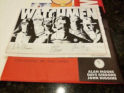 Watchmen Zenda 1987 Limited Edition Signed Plate By Alan Moore & Dave Gibbons