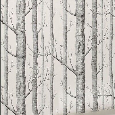 10m Rustic Modern Forest Birch Tree Wallpaper Roll Black White Woods Home Decor