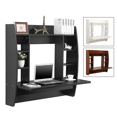 Wall Mounted Floating Computer Desk PC Table with Shelves Black/White/Brown