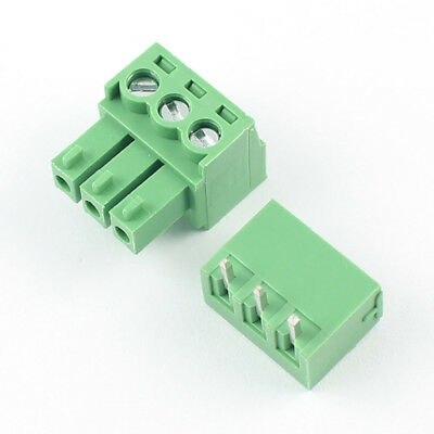10Pcs 3.5mm Pitch 3 Pin Way Right Angle Screw Terminal Block Pluggable Connector