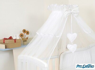 BABY COT/ BED CANOPY DRAPE-BIG 480cm  - COVERS 4 SIDES -  White