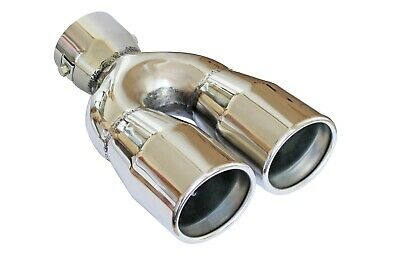 Double Ø35mm-55mm Universal Stainless Steel Extension Exhaust Tip Tail Pipe /303