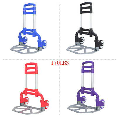 Cart Folding Dolly Hand Truck Push Collapsible Trolley Luggage Aluminium 170 LBS