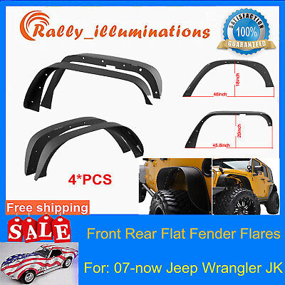 4pcs Steel Front Rear Flat Fender Flares For 2007-18 Jeep Wrangler JK Unlimited