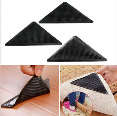 Rug Carpet Mat Grippers Non Slip Anti Skid Washable Silicone Grip 4PCS