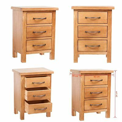 Oak Nightstand with 3 Drawers 40 x 30 x 54 cm Bedside Table Cabinet Chest