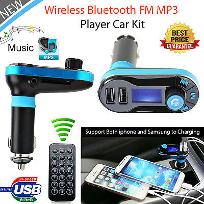 Bluetooth Car Kit FM Transmitter Wireless Radio Adapter/USB Charger for Phone
