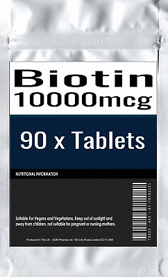 90 x BIOTIN 5mg 5000mcg Healthy Hair Skin and Nails