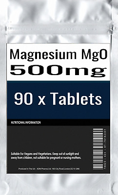 90 x Magnesium Tablets MgO 500mg Elemental Magnesium 300mg Fatigue Muscles